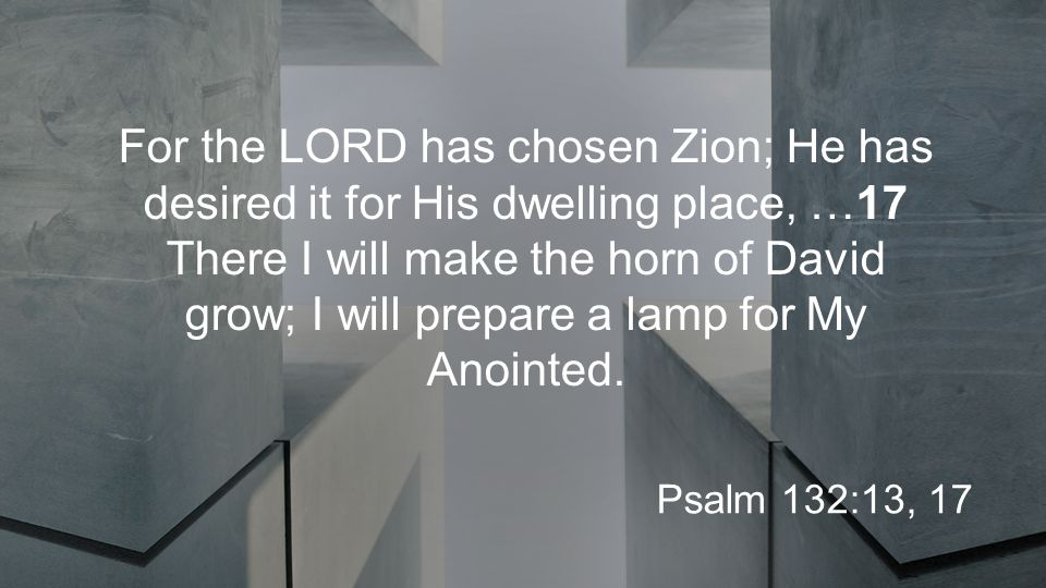 For the LORD has chosen Zion; He has desired it for His dwelling place, …17 There I will make the horn of David grow; I will prepare a lamp for My Anointed.