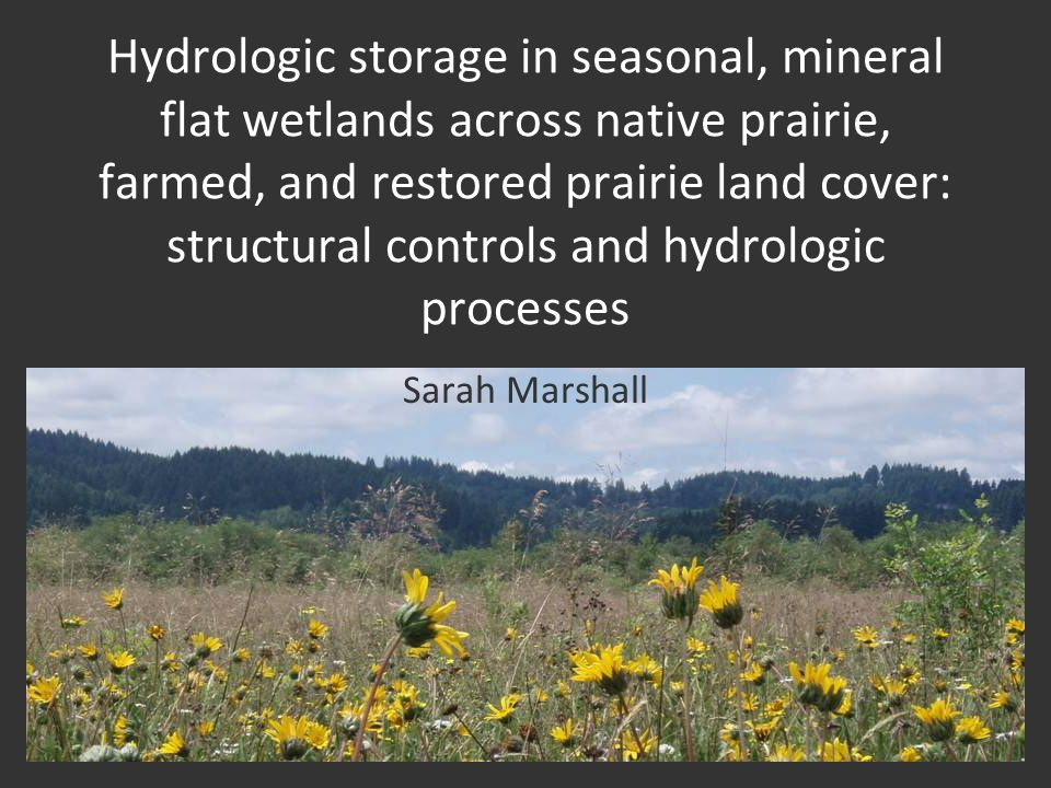 Hydrologic storage in seasonal, mineral flat wetlands across native prairie, farmed, and restored prairie land cover: structural controls and hydrologic processes Sarah Marshall