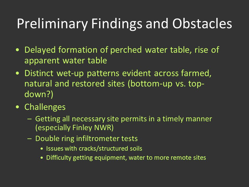 Preliminary Findings and Obstacles Delayed formation of perched water table, rise of apparent water table Distinct wet-up patterns evident across farm