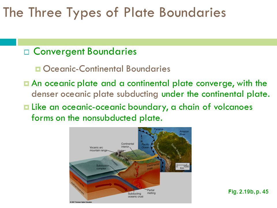 The Three Types of Plate Boundaries  Convergent Boundaries  Oceanic-Continental Boundaries  An oceanic plate and a continental plate converge, with the denser oceanic plate subducting under the continental plate.