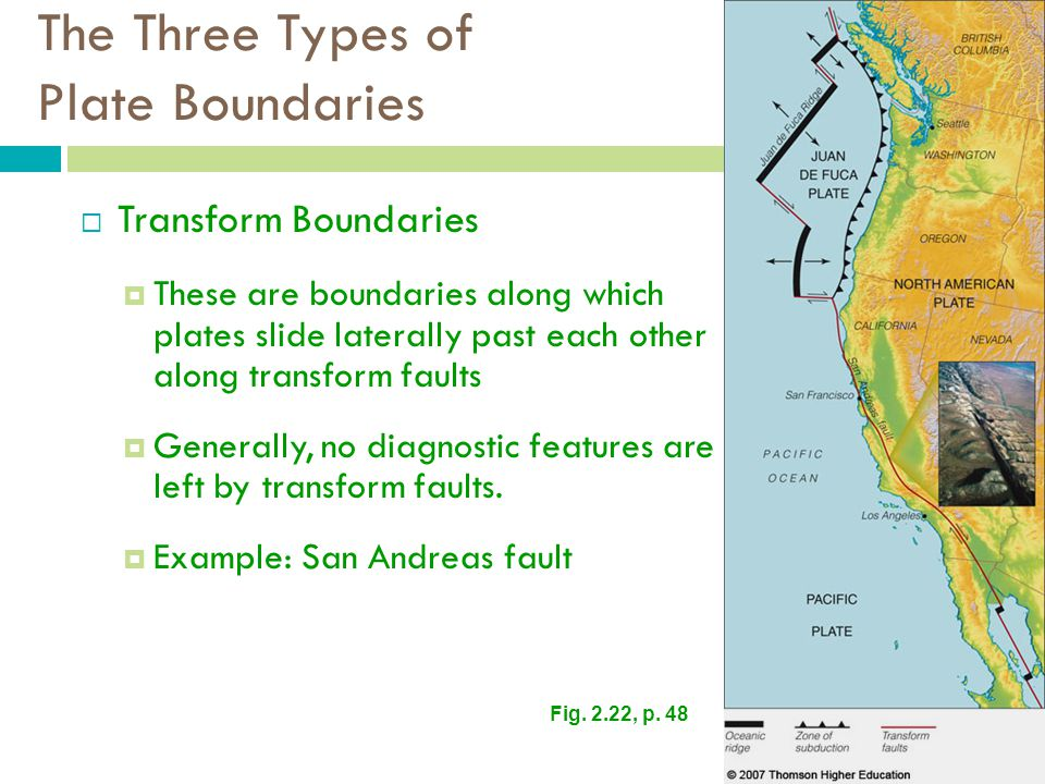The Three Types of Plate Boundaries  Transform Boundaries  These are boundaries along which plates slide laterally past each other along transform faults  Generally, no diagnostic features are left by transform faults.