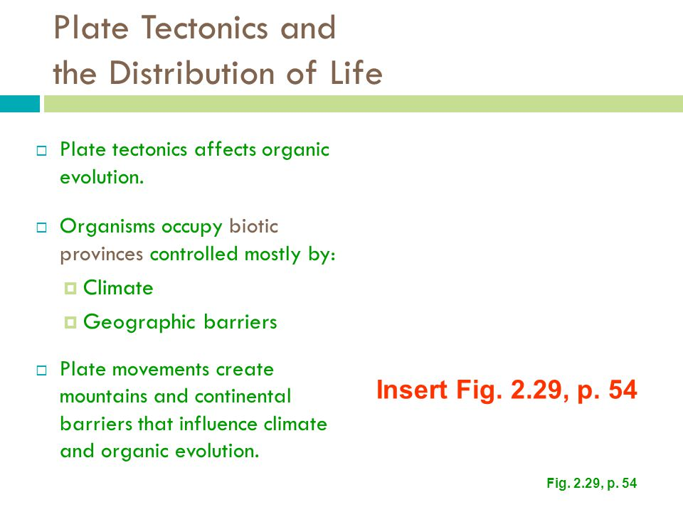 Plate Tectonics and the Distribution of Life  Plate tectonics affects organic evolution.  Organisms occupy biotic provinces controlled mostly by: 