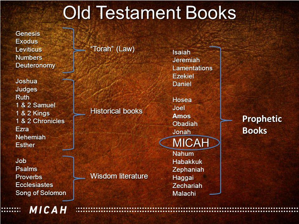 Old Testament Books GenesisExodusLeviticusNumbersDeuteronomyJoshuaJudgesRuth 1 & 2 Samuel 1 & 2 Kings 1 & 2 Chronicles EzraNehemiahEstherJobPsalmsProv