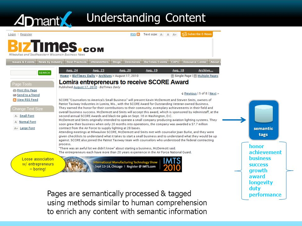 Understanding Content semantictags honor achievement business success growth award longevity duty performance Pages are semantically processed & tagge