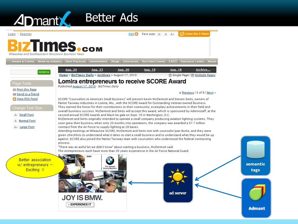 ad server semantictags Admant Better Ads Better association w/ entrepreneurs – Exciting !!