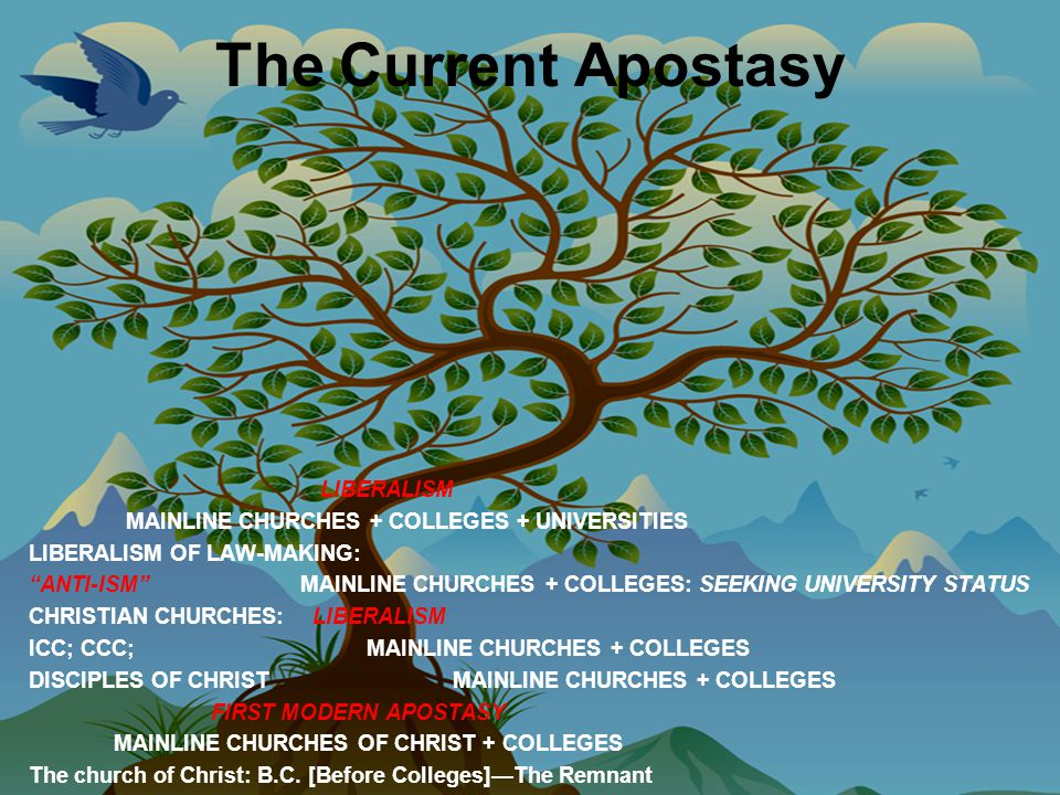The Current Apostasy LIBERALISM MAINLINE CHURCHES + COLLEGES + UNIVERSITIES LIBERALISM OF LAW-MAKING: ANTI-ISM MAINLINE CHURCHES + COLLEGES: SEEKING UNIVERSITY STATUS CHRISTIAN CHURCHES: LIBERALISM ICC; CCC; MAINLINE CHURCHES + COLLEGES DISCIPLES OF CHRIST MAINLINE CHURCHES + COLLEGES FIRST MODERN APOSTASY MAINLINE CHURCHES OF CHRIST + COLLEGES The church of Christ: B.C.