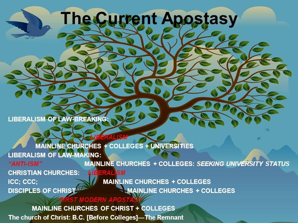 The Current Apostasy LIBERALISM OF LAW-BREAKING: LIBERALISM MAINLINE CHURCHES + COLLEGES + UNIVERSITIES LIBERALISM OF LAW-MAKING: ANTI-ISM MAINLINE CHURCHES + COLLEGES: SEEKING UNIVERSITY STATUS CHRISTIAN CHURCHES: LIBERALISM ICC; CCC; MAINLINE CHURCHES + COLLEGES DISCIPLES OF CHRIST MAINLINE CHURCHES + COLLEGES FIRST MODERN APOSTASY MAINLINE CHURCHES OF CHRIST + COLLEGES The church of Christ: B.C.