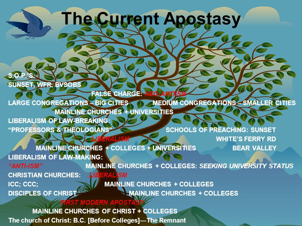 The Current Apostasy S.O.P.'S: SUNSET, WFR, BVSOBS FALSE CHARGE: NEO-ANTIISM LARGE CONGREGATIONS – BIG CITIES MEDIUM CONGREGATIONS – SMALLER CITIES MAINLINE CHURCHES + UNIVERSITIES LIBERALISM OF LAW-BREAKING: PROFESSORS & THEOLOGIANS SCHOOLS OF PREACHING: SUNSET LIBERALISM WHITE'S FERRY RD MAINLINE CHURCHES + COLLEGES + UNIVERSITIES BEAR VALLEY LIBERALISM OF LAW-MAKING: ANTI-ISM MAINLINE CHURCHES + COLLEGES: SEEKING UNIVERSITY STATUS CHRISTIAN CHURCHES: LIBERALISM ICC; CCC; MAINLINE CHURCHES + COLLEGES DISCIPLES OF CHRIST MAINLINE CHURCHES + COLLEGES FIRST MODERN APOSTASY MAINLINE CHURCHES OF CHRIST + COLLEGES The church of Christ: B.C.