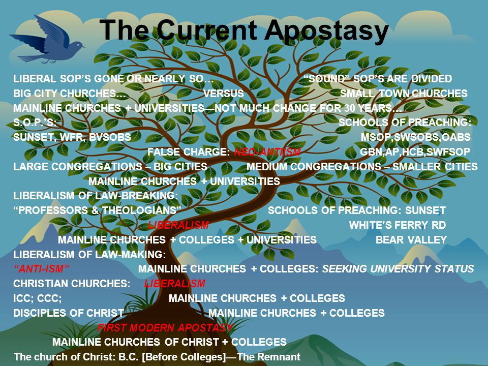 The Current Apostasy LIBERAL SOP'S GONE OR NEARLY SO… SOUND SOP'S ARE DIVIDED BIG CITY CHURCHES… VERSUS SMALL TOWN CHURCHES MAINLINE CHURCHES + UNIVERSITIES—NOT MUCH CHANGE FOR 30 YEARS… S.O.P.'S: SCHOOLS OF PREACHING: SUNSET, WFR, BVSOBS MSOP,SWSOBS,OABS FALSE CHARGE: NEO-ANTIISM GBN,AP,HCB,SWFSOP LARGE CONGREGATIONS – BIG CITIES MEDIUM CONGREGATIONS – SMALLER CITIES MAINLINE CHURCHES + UNIVERSITIES LIBERALISM OF LAW-BREAKING: PROFESSORS & THEOLOGIANS SCHOOLS OF PREACHING: SUNSET LIBERALISM WHITE'S FERRY RD MAINLINE CHURCHES + COLLEGES + UNIVERSITIES BEAR VALLEY LIBERALISM OF LAW-MAKING: ANTI-ISM MAINLINE CHURCHES + COLLEGES: SEEKING UNIVERSITY STATUS CHRISTIAN CHURCHES: LIBERALISM ICC; CCC; MAINLINE CHURCHES + COLLEGES DISCIPLES OF CHRIST MAINLINE CHURCHES + COLLEGES FIRST MODERN APOSTASY MAINLINE CHURCHES OF CHRIST + COLLEGES The church of Christ: B.C.
