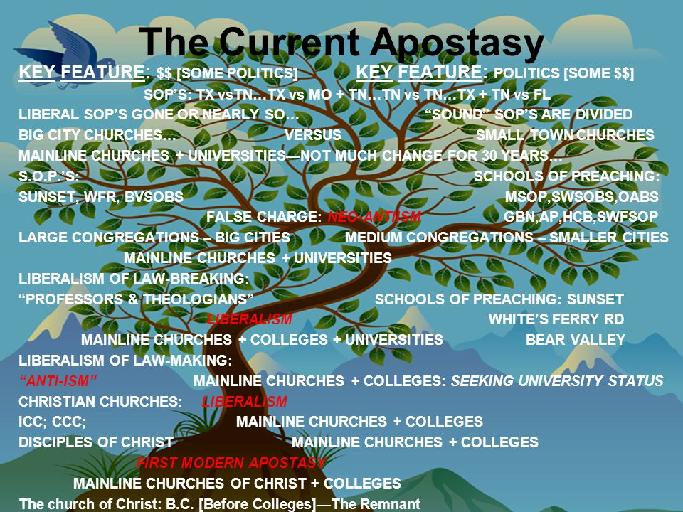 The Current Apostasy KEY FEATURE: $$ [SOME POLITICS] KEY FEATURE: POLITICS [SOME $$] SOP'S: TX vsTN…TX vs MO + TN…TN vs TN…TX + TN vs FL LIBERAL SOP'S GONE OR NEARLY SO… SOUND SOP'S ARE DIVIDED BIG CITY CHURCHES… VERSUS SMALL TOWN CHURCHES MAINLINE CHURCHES + UNIVERSITIES—NOT MUCH CHANGE FOR 30 YEARS… S.O.P.'S: SCHOOLS OF PREACHING: SUNSET, WFR, BVSOBS MSOP,SWSOBS,OABS FALSE CHARGE: NEO-ANTIISM GBN,AP,HCB,SWFSOP LARGE CONGREGATIONS – BIG CITIES MEDIUM CONGREGATIONS – SMALLER CITIES MAINLINE CHURCHES + UNIVERSITIES LIBERALISM OF LAW-BREAKING: PROFESSORS & THEOLOGIANS SCHOOLS OF PREACHING: SUNSET LIBERALISM WHITE'S FERRY RD MAINLINE CHURCHES + COLLEGES + UNIVERSITIES BEAR VALLEY LIBERALISM OF LAW-MAKING: ANTI-ISM MAINLINE CHURCHES + COLLEGES: SEEKING UNIVERSITY STATUS CHRISTIAN CHURCHES: LIBERALISM ICC; CCC; MAINLINE CHURCHES + COLLEGES DISCIPLES OF CHRIST MAINLINE CHURCHES + COLLEGES FIRST MODERN APOSTASY MAINLINE CHURCHES OF CHRIST + COLLEGES The church of Christ: B.C.