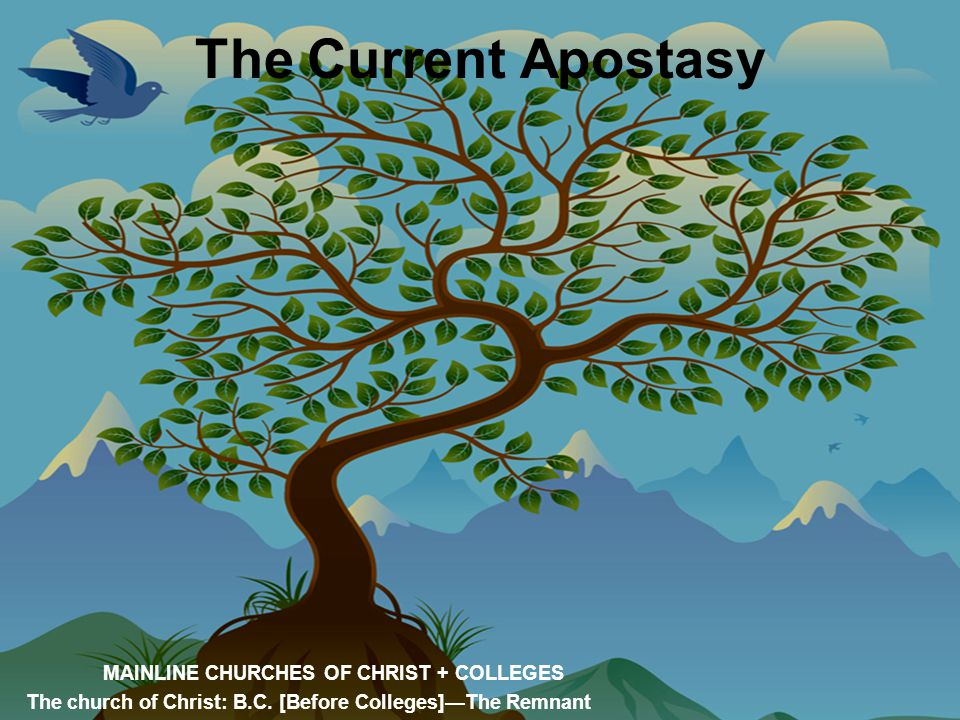 The Current Apostasy MAINLINE CHURCHES OF CHRIST + COLLEGES The church of Christ: B.C. [Before Colleges]—The Remnant