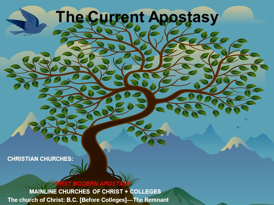 The Current Apostasy CHRISTIAN CHURCHES: FIRST MODERN APOSTASY MAINLINE CHURCHES OF CHRIST + COLLEGES The church of Christ: B.C.