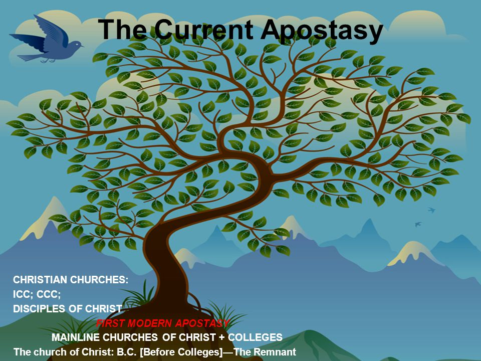 The Current Apostasy CHRISTIAN CHURCHES: ICC; CCC; DISCIPLES OF CHRIST FIRST MODERN APOSTASY MAINLINE CHURCHES OF CHRIST + COLLEGES The church of Christ: B.C.