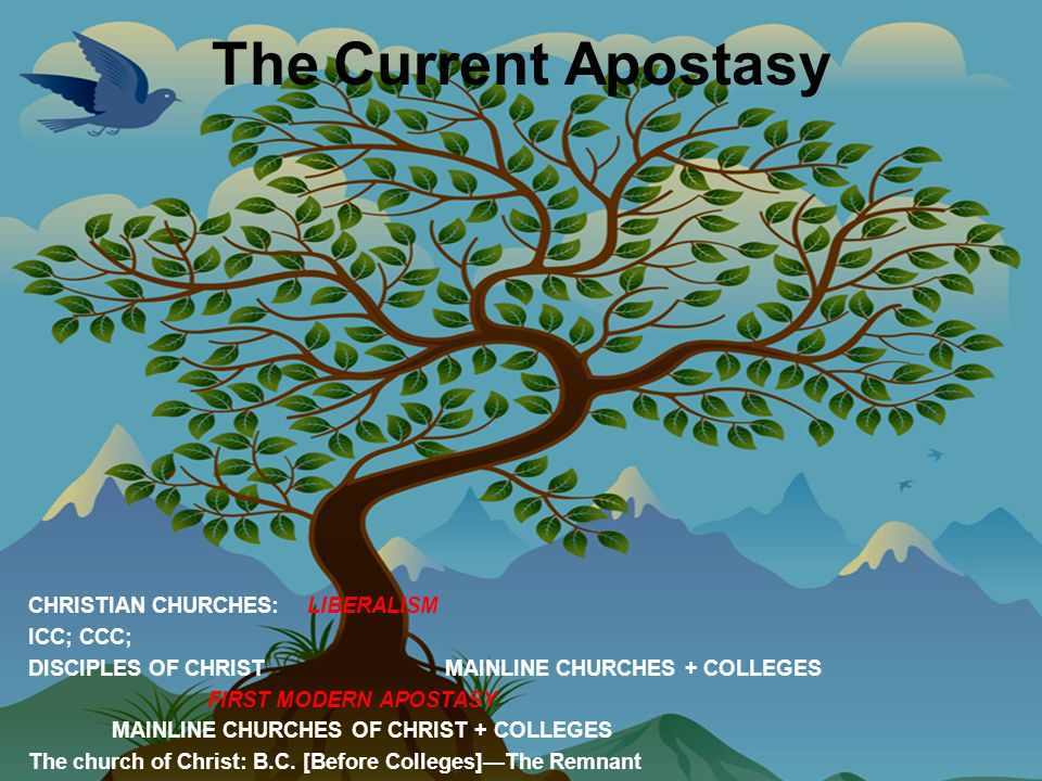 The Current Apostasy CHRISTIAN CHURCHES: LIBERALISM ICC; CCC; DISCIPLES OF CHRIST MAINLINE CHURCHES + COLLEGES FIRST MODERN APOSTASY MAINLINE CHURCHES OF CHRIST + COLLEGES The church of Christ: B.C.