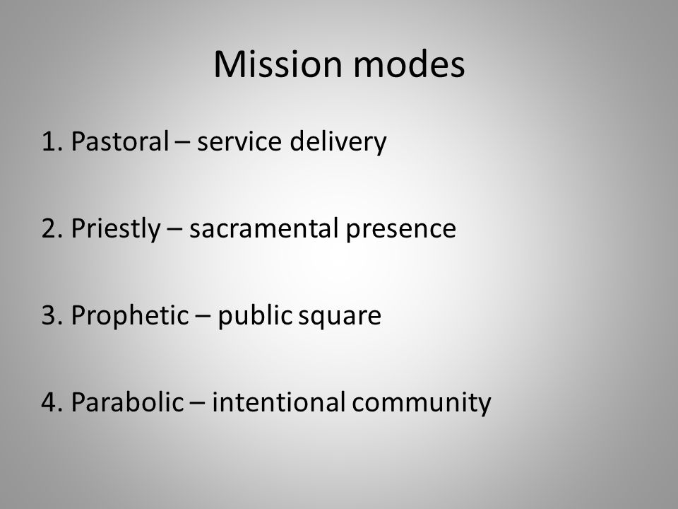 Mission modes 1. Pastoral – service delivery 2. Priestly – sacramental presence 3. Prophetic – public square 4. Parabolic – intentional community