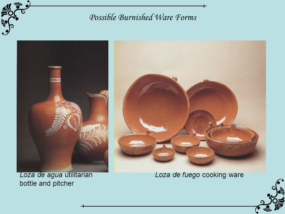Possible Burnished Ware Forms Loza de agua utilitarian bottle and pitcher Loza de fuego cooking ware