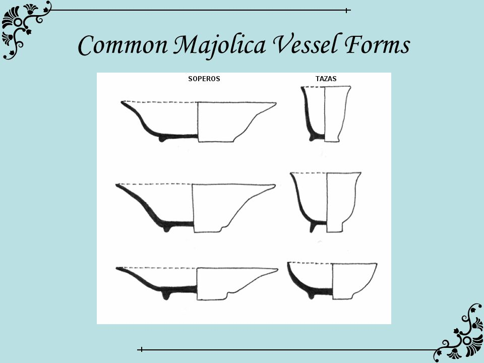 Common Majolica Vessel Forms