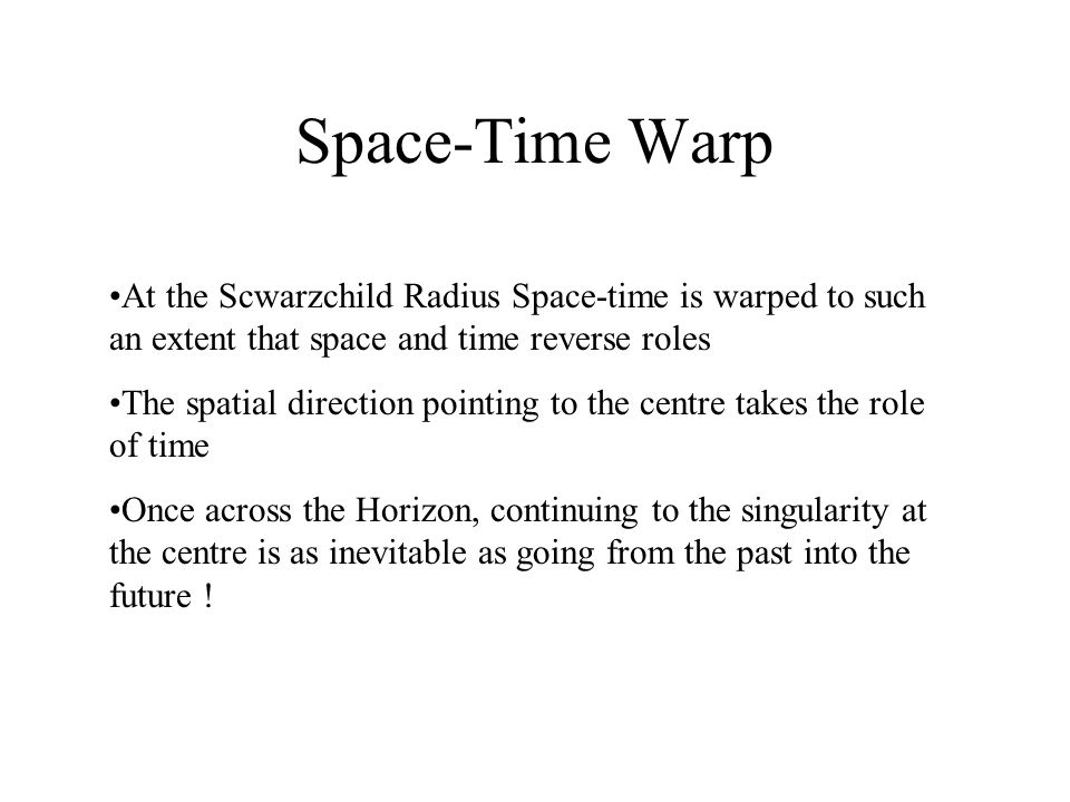 Space-Time Warp At the Scwarzchild Radius Space-time is warped to such an extent that space and time reverse roles The spatial direction pointing to the centre takes the role of time Once across the Horizon, continuing to the singularity at the centre is as inevitable as going from the past into the future !