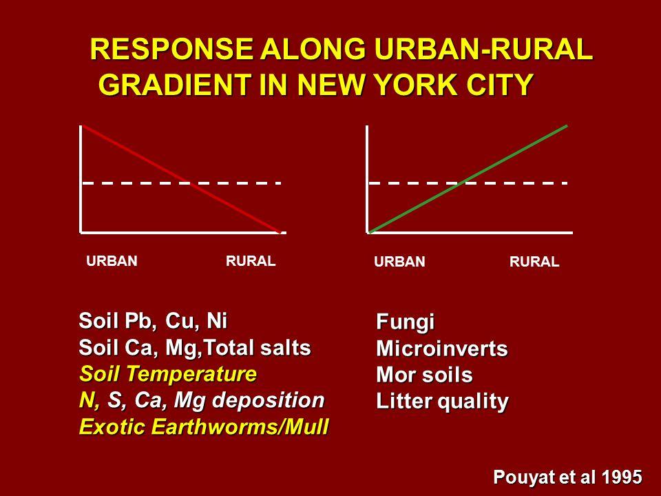URBAN RURAL Soil Pb, Cu, Ni Soil Ca, Mg,Total salts Soil Temperature N, S, Ca, Mg deposition Exotic Earthworms/Mull FungiMicroinverts Mor soils Litter quality RESPONSE ALONG URBAN-RURAL GRADIENT IN NEW YORK CITY GRADIENT IN NEW YORK CITY Pouyat et al 1995