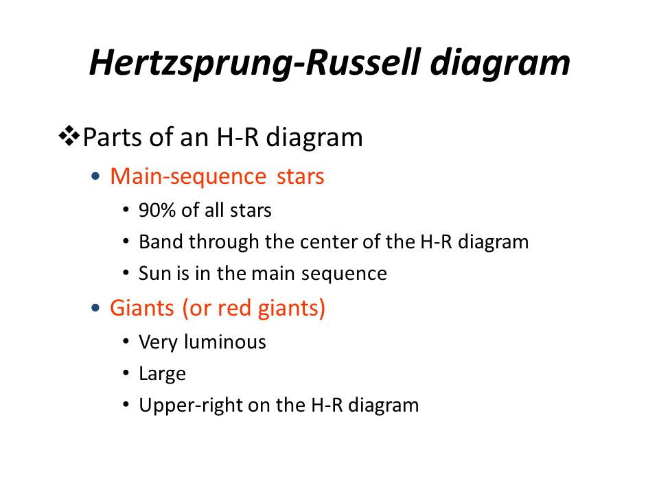 Hertzsprung-Russell diagram  Parts of an H-R diagram Main-sequence stars 90% of all stars Band through the center of the H-R diagram Sun is in the ma