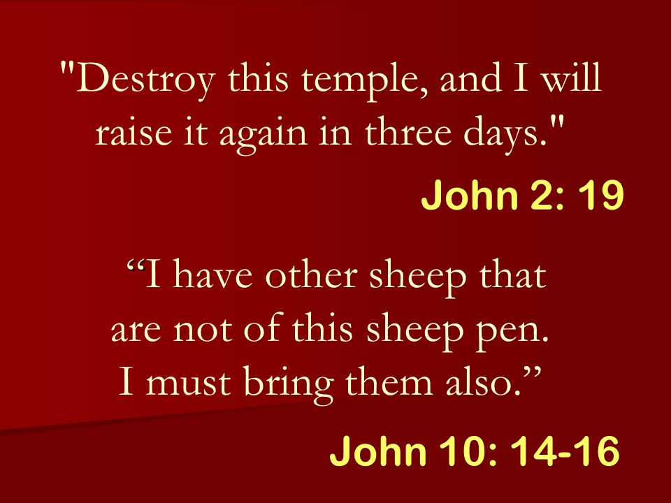 Destroy this temple, and I will raise it again in three days. I have other sheep that are not of this sheep pen.