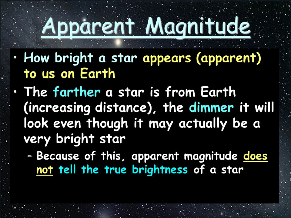 Apparent Magnitude How bright a star appears (apparent) to us on Earth The farther a star is from Earth (increasing distance), the dimmer it will look even though it may actually be a very bright star –Because of this, apparent magnitude does not tell the true brightness of a star