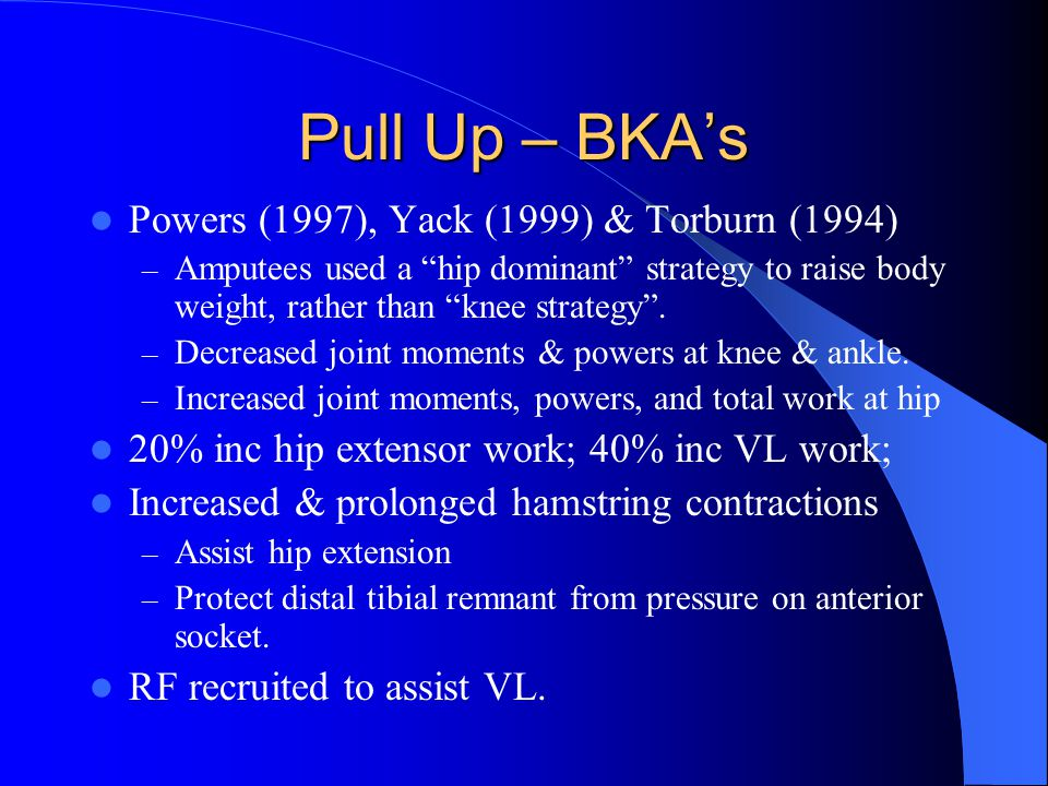 Pull Up – BKA's Powers (1997), Yack (1999) & Torburn (1994) – Amputees used a hip dominant strategy to raise body weight, rather than knee strategy .