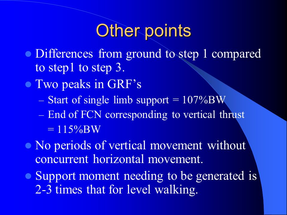 Other points Differences from ground to step 1 compared to step1 to step 3.