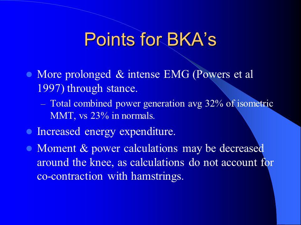Points for BKA's More prolonged & intense EMG (Powers et al 1997) through stance.