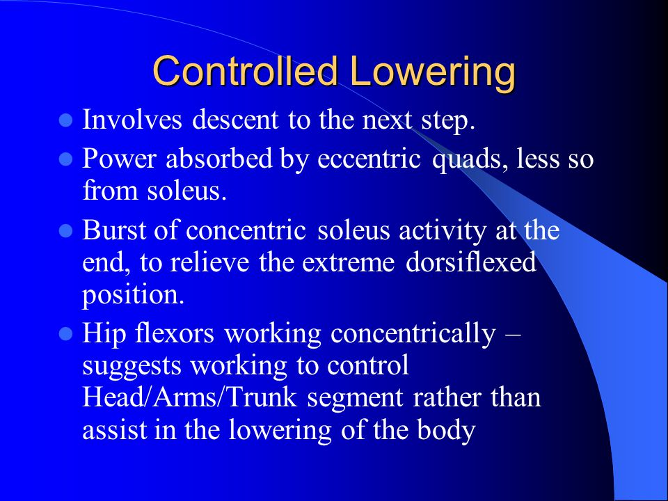 Controlled Lowering Involves descent to the next step.