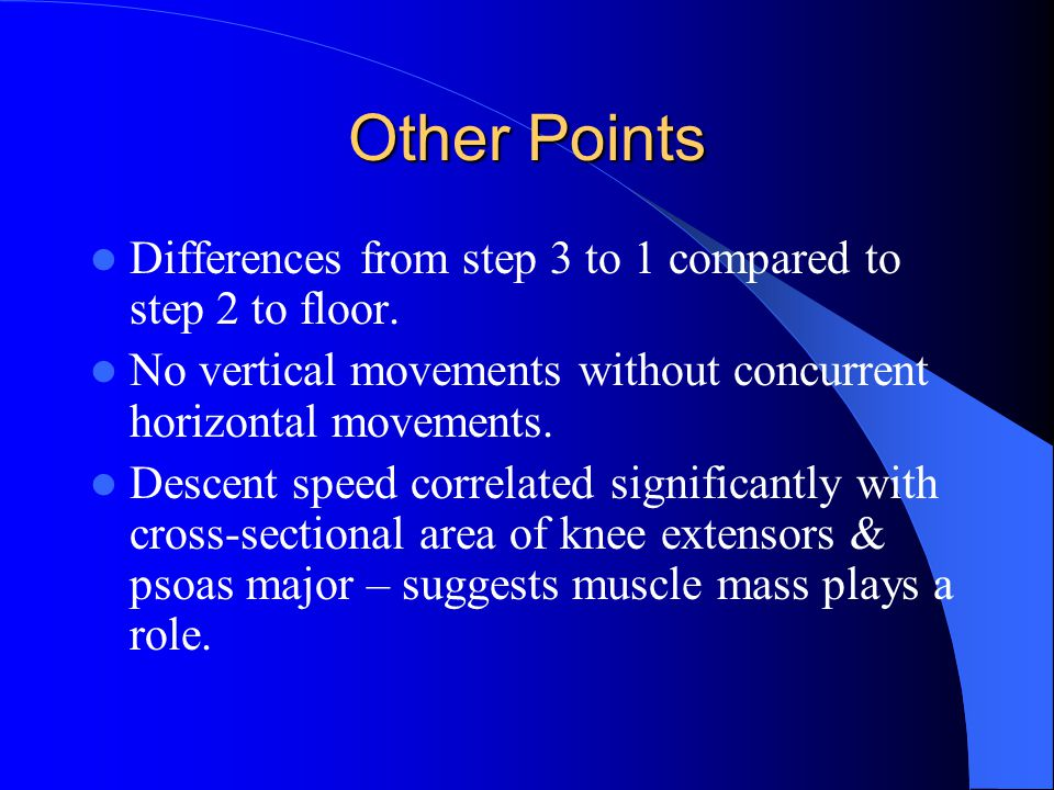 Other Points Differences from step 3 to 1 compared to step 2 to floor.