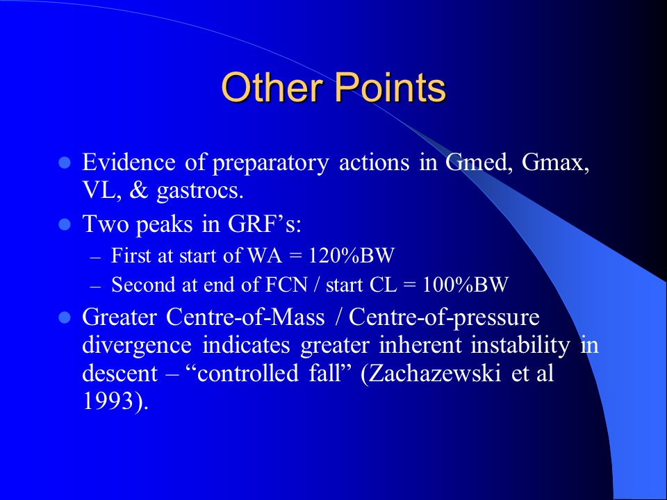 Other Points Evidence of preparatory actions in Gmed, Gmax, VL, & gastrocs.
