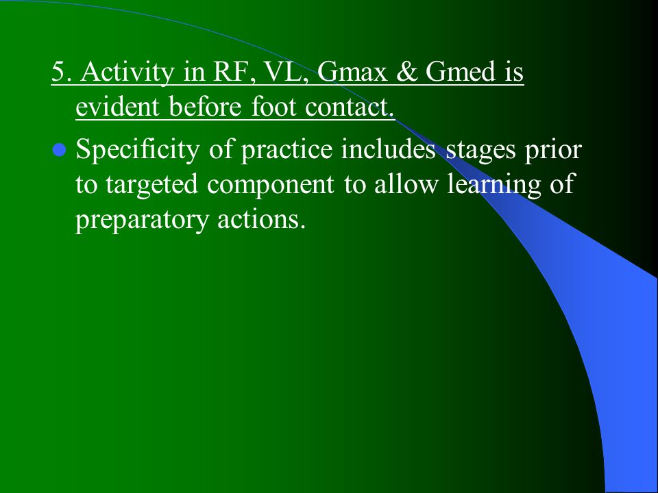 5.Activity in RF, VL, Gmax & Gmed is evident before foot contact.