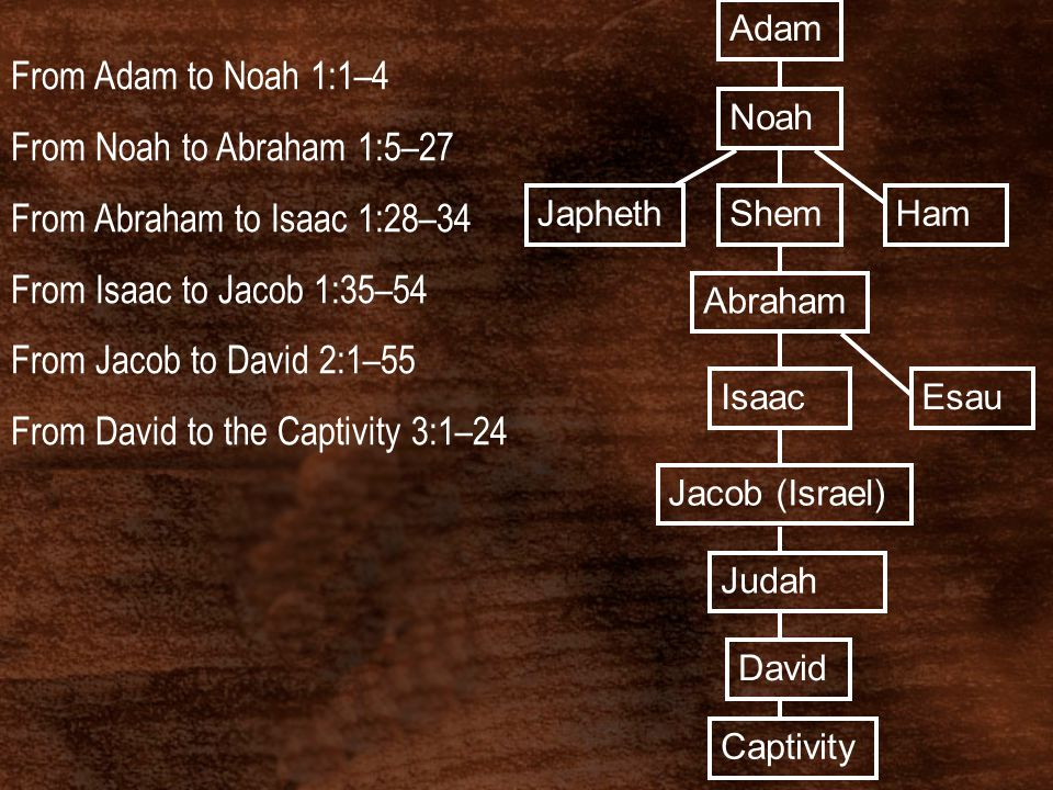 Adam Noah HamJaphethShem Abraham EsauIsaac Jacob (Israel) Judah David Captivity From Adam to Noah 1:1–4 From Noah to Abraham 1:5–27 From Abraham to Is