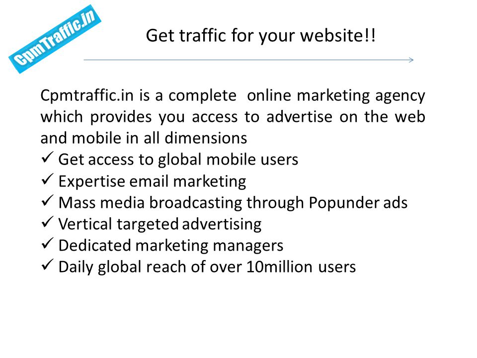 Get traffic for your website!.