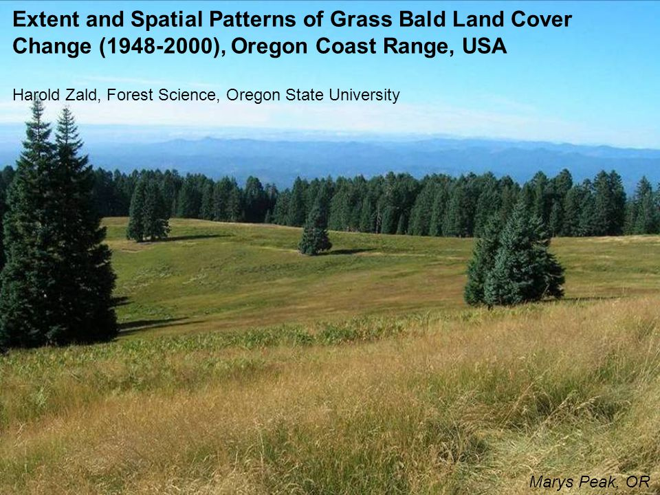 Extent and Spatial Patterns of Grass Bald Land Cover Change (1948-2000), Oregon Coast Range, USA Harold Zald, Forest Science, Oregon State University Marys Peak, OR