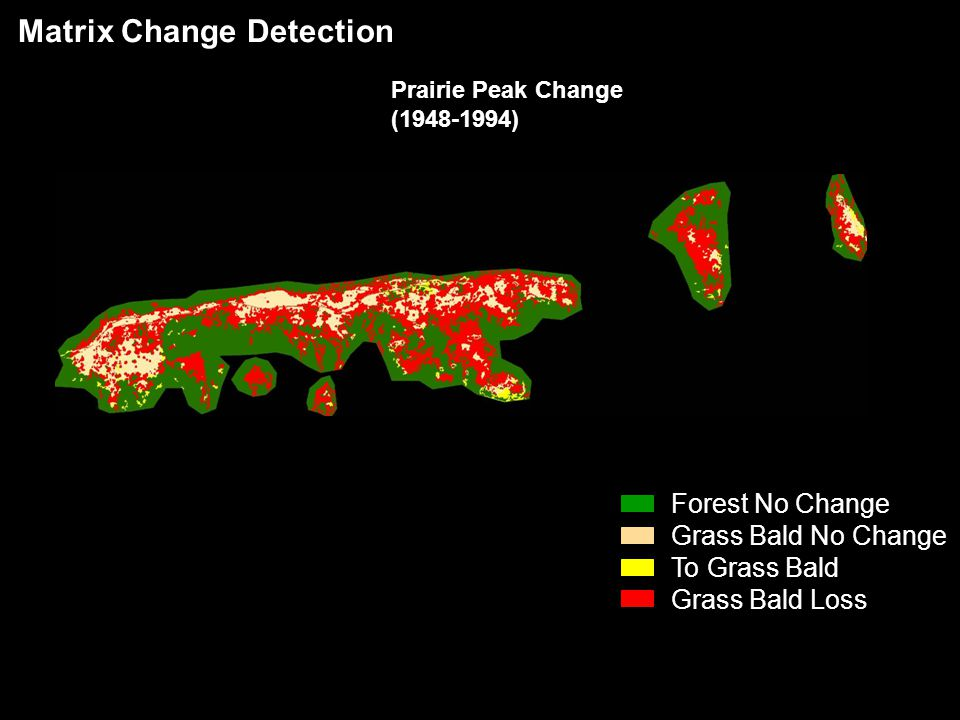 Matrix Change Detection Forest No Change Grass Bald No Change To Grass Bald Grass Bald Loss Prairie Peak Change (1948-1994)