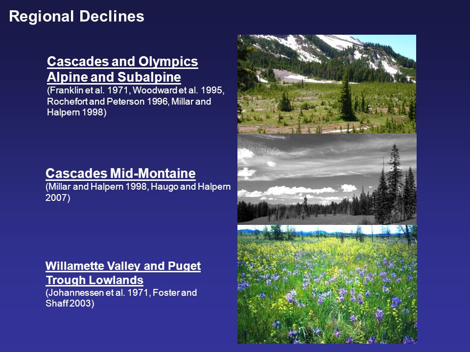 Regional Declines Cascades and Olympics Alpine and Subalpine (Franklin et al.