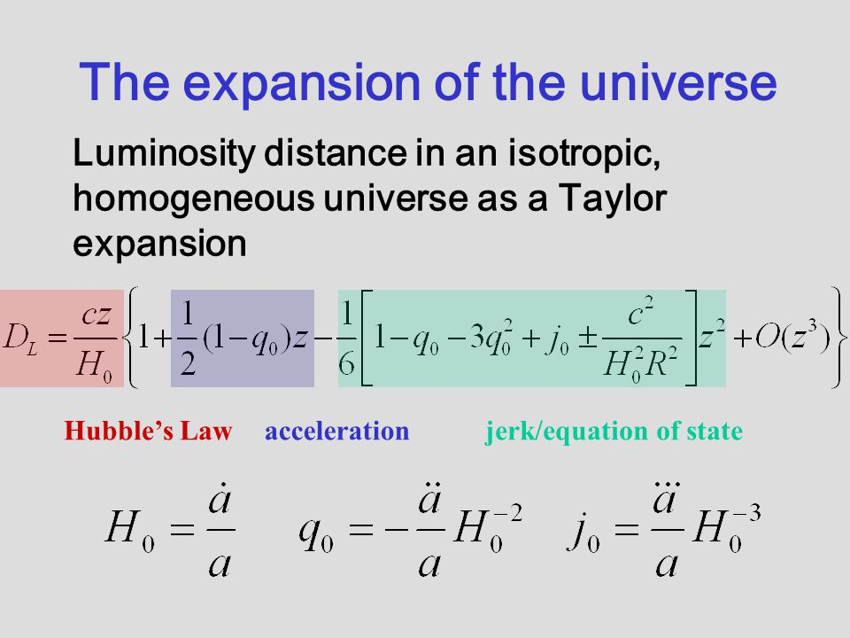The expansion of the universe Luminosity distance in an isotropic, homogeneous universe as a Taylor expansion Hubble's Lawaccelerationjerk/equation of