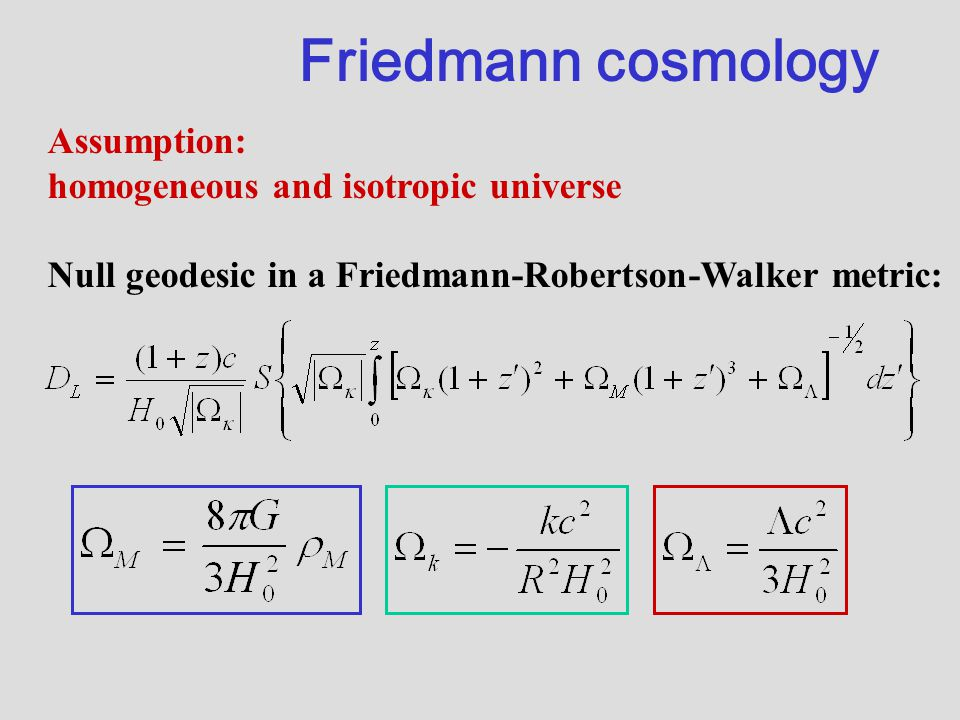 Friedmann cosmology Assumption: homogeneous and isotropic universe Null geodesic in a Friedmann-Robertson-Walker metric: