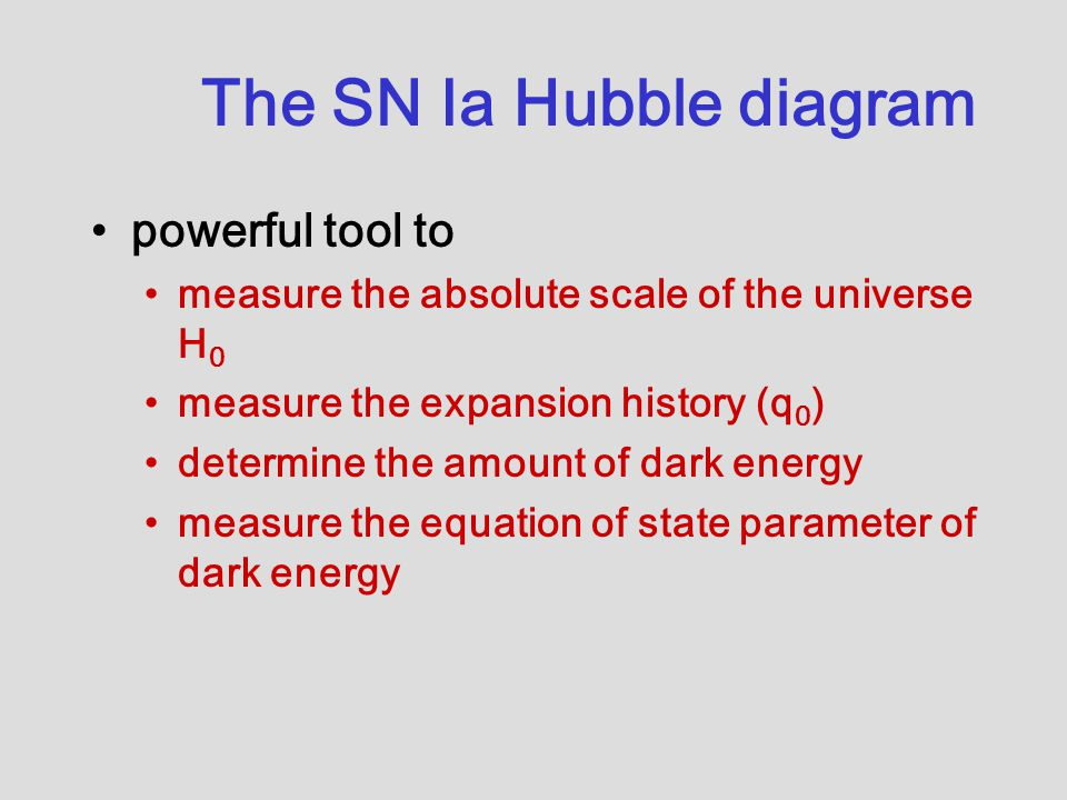 The SN Ia Hubble diagram powerful tool to measure the absolute scale of the universe H 0 measure the expansion history (q 0 ) determine the amount of