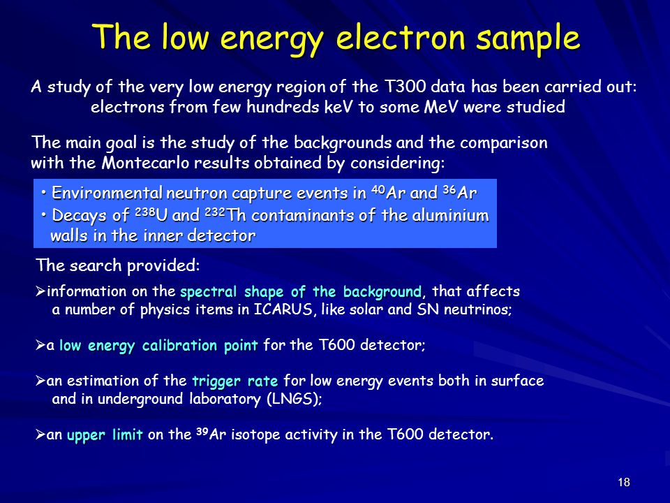 18 The low energy electron sample A study of the very low energy region of the T300 data has been carried out: electrons from few hundreds keV to some MeV were studied The main goal is the study of the backgrounds and the comparison with the Montecarlo results obtained by considering: Decays of 238 U and 232 Th contaminants of the aluminium Decays of 238 U and 232 Th contaminants of the aluminium walls in the inner detector walls in the inner detector Environmental neutron capture events in 40 Ar and 36 Ar Environmental neutron capture events in 40 Ar and 36 Ar spectral shape of the background  information on the spectral shape of the background, that affects a number of physics items in ICARUS, like solar and SN neutrinos; low energy calibration point  a low energy calibration point for the T600 detector; trigger rate  an estimation of the trigger rate for low energy events both in surface and in underground laboratory (LNGS); upper limit  an upper limit on the 39 Ar isotope activity in the T600 detector.