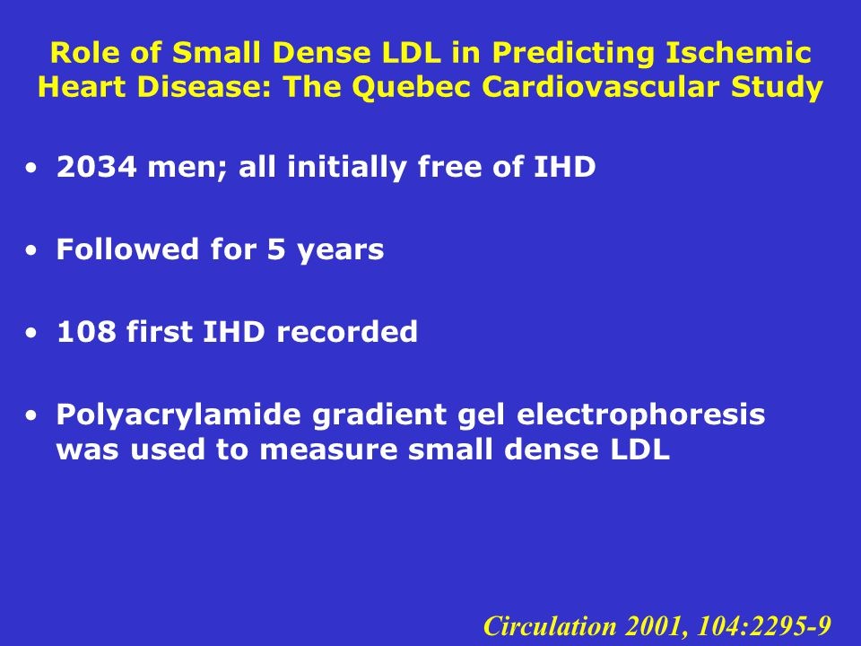 Role of Small Dense LDL in Predicting Ischemic Heart Disease: The Quebec Cardiovascular Study 2034 men; all initially free of IHD Followed for 5 years