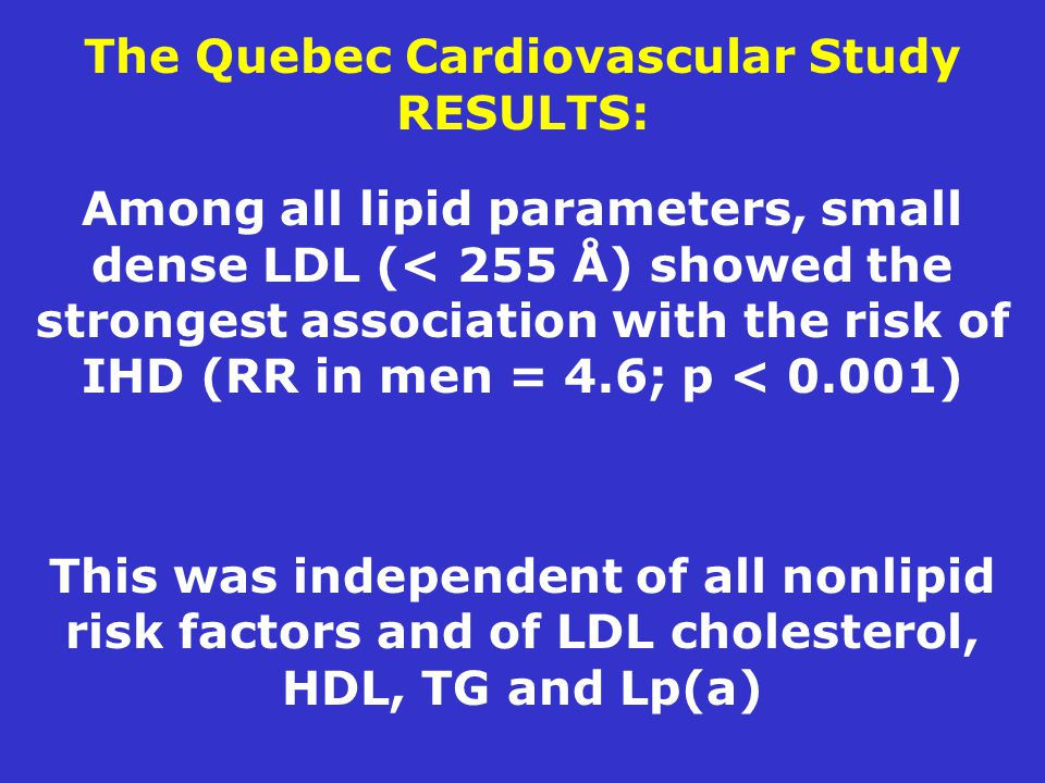 The Quebec Cardiovascular Study RESULTS: Among all lipid parameters, small dense LDL (< 255 Å) showed the strongest association with the risk of IHD (