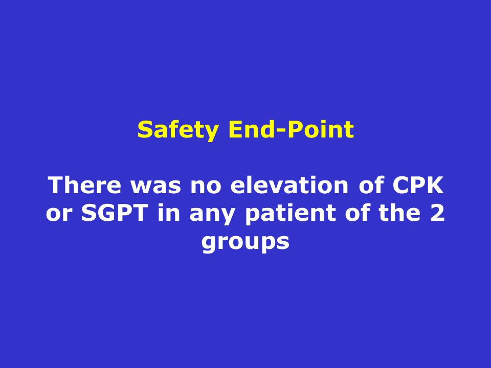 Safety End-Point There was no elevation of CPK or SGPT in any patient of the 2 groups