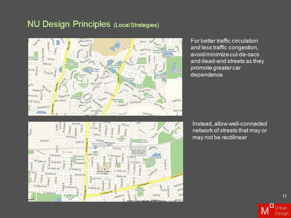 NU Design Principles (Local Strategies) For better traffic circulation and less traffic congestion, avoid/minimize cul-de-sacs and dead-end streets as