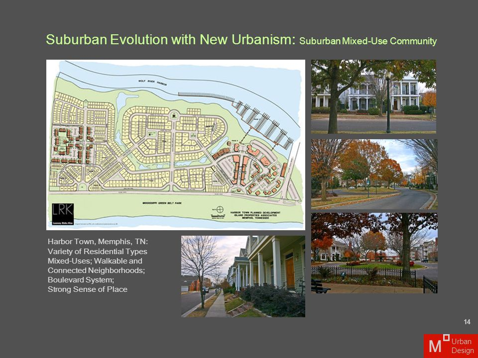 Suburban Evolution with New Urbanism : Suburban Mixed-Use Community Harbor Town, Memphis, TN: Variety of Residential Types Mixed-Uses; Walkable and Co