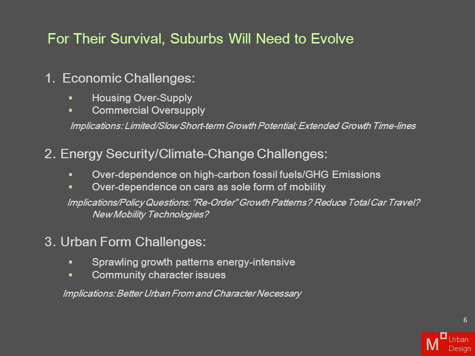 Re-Order Regional Growth Patterns (Climate and Urban Form Challenges)  Past growth => Slow Future Evolution  Past Recommendations: Create Growth Boundaries/ Stop Suburbanization Limit Infrastructure Spending  No real BOLD planning considerations (notwithstanding the legacy) Re-ordering Virtually Impossible for Historical / Political Reasons  New Regional Policies Necessary  Most New Strategies Possible at Local Level – If Suburbs Take the Challenge 2010 202020402030 Chicago Metro: Over 100 Years of Growth Source: M Urban Design Benefits Time-Scale 7