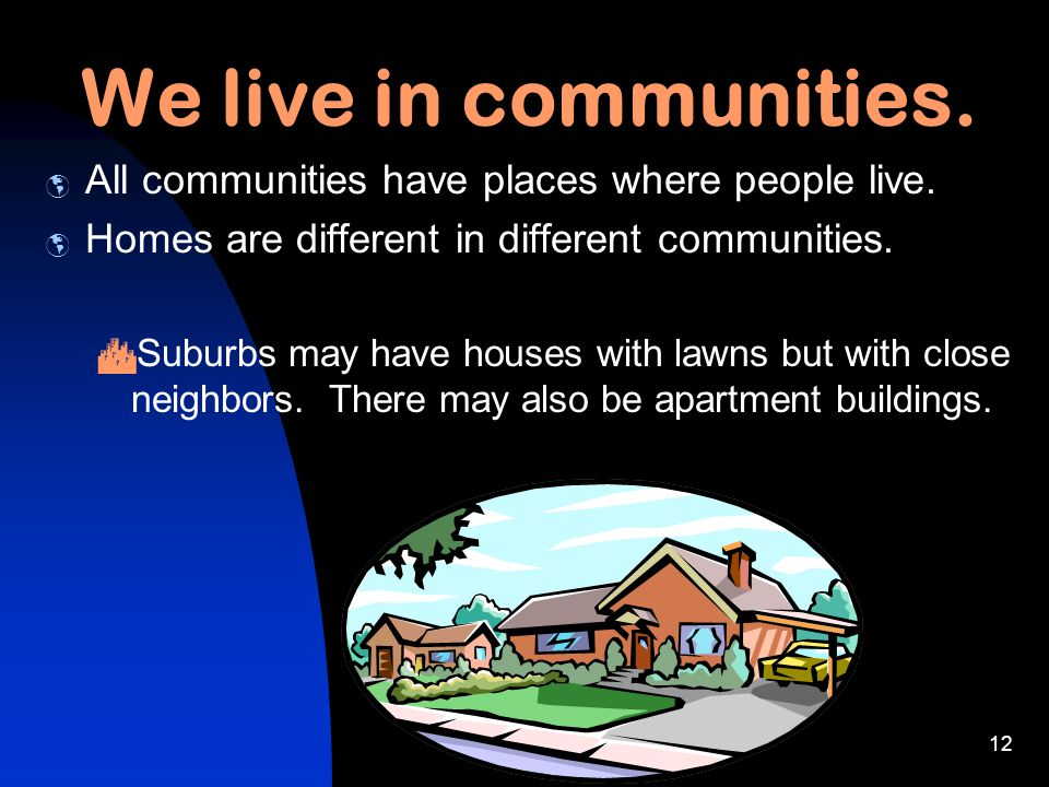 c. 11-02 KL11 We live in communities. AAll communities have places where people live. HHomes are different in different communities. UUrban comm