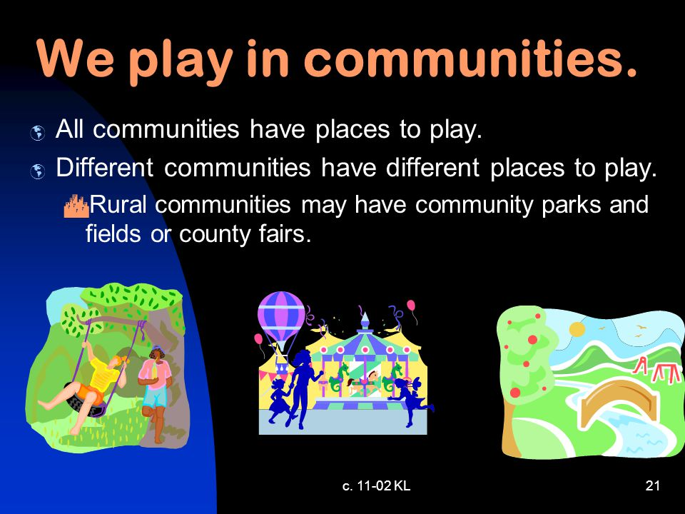c. 11-02 KL20 We play in communities.  All communities have places to play.  Different communities have different places to play.  Suburban communi